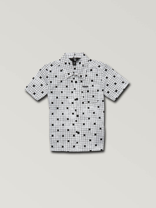Little Boys Crossed Up Short Sleeve Shirt In White, Front View