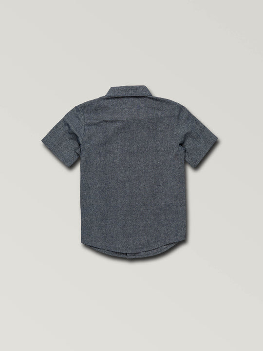 Little Boys Mag Vibes Short Sleeve Shirt In Indigo, Back View