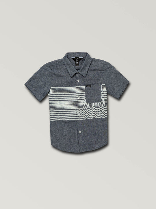 Little Boys Mag Vibes Short Sleeve Shirt In Indigo, Front View