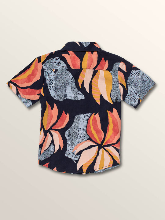 Little Boys Garden Floral Short Sleeve Shirt In Melindigo, Back View