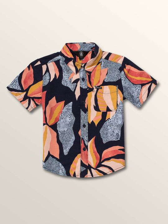 Little Boys Garden Floral Short Sleeve Shirt In Melindigo, Front View