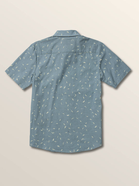 Little Boys Quency Dot Short Sleeve Shirt In Slate Blue, Back View