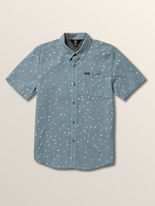 Little Boys Quency Dot Short Sleeve Shirt In Slate Blue, Front View