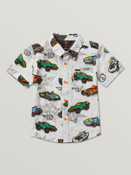 Little Boys Hot Wheels'Ñ¢ Roller Short Sleeve Shirt In White, Front View