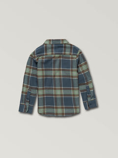 Little Boys Caden Plaid Long Sleeve Flannel In Indigo, Back View