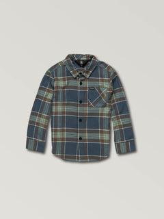 Little Boys Caden Plaid Long Sleeve Flannel In Indigo, Front View