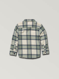 Little Boys Caden Plaid Long Sleeve Flannel In Off White, Back View