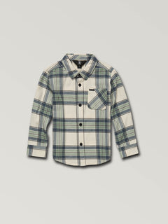 Little Boys Caden Plaid Long Sleeve Flannel In Off White, Front View