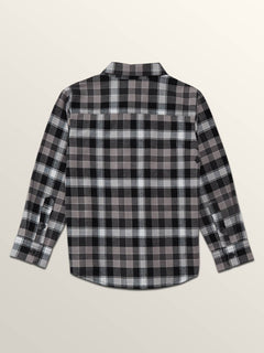 Little Boys Caden Plaid Long Sleeve Flannel In Black, Back View