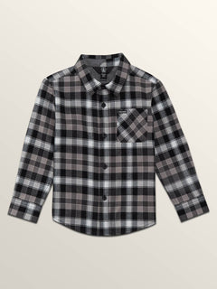 Little Boys Caden Plaid Long Sleeve Flannel In Black, Front View