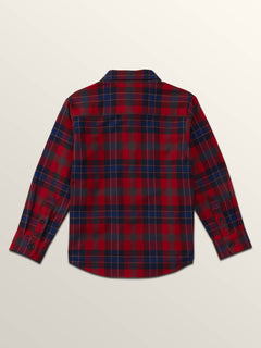 Little Boys Caden Plaid Long Sleeve Flannel In Engine Red, Back View