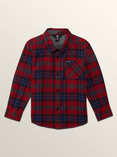 Little Boys Caden Plaid Long Sleeve Flannel In Engine Red, Front View
