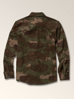 Little Boys Huckster Long Sleeve Shirt In Army, Back View