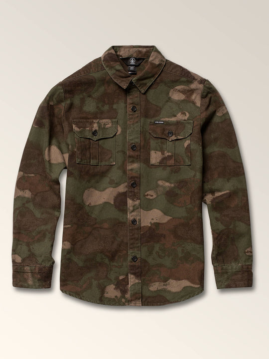 Little Boys Huckster Long Sleeve Shirt In Army, Front View