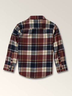 Little Boys Caden Plaid Long Sleeve Flannel In Melindigo, Back View