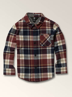 Little Boys Caden Plaid Long Sleeve Flannel In Melindigo, Front View