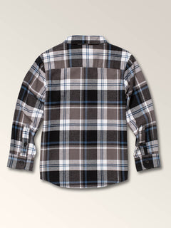 Little Boys Caden Plaid Long Sleeve Flannel In Pewter, Back View