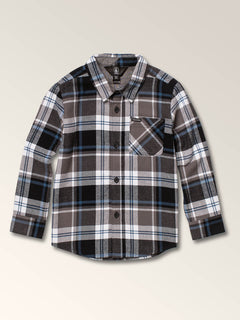 Little Boys Caden Plaid Long Sleeve Flannel In Pewter, Front View