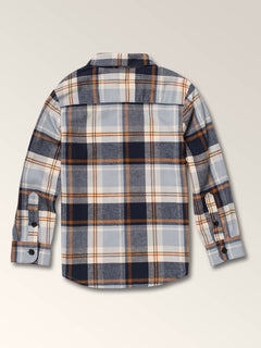 Little Boys Caden Plaid Long Sleeve Flannel In Slate Blue, Back View