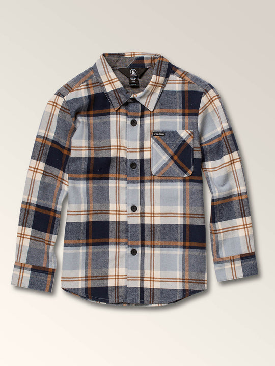Little Boys Caden Plaid Long Sleeve Flannel In Slate Blue, Front View