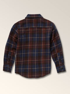 Little Boys Lumberg Long Sleeve Flannel In Melindigo, Back View