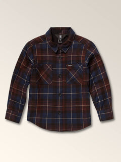 Little Boys Lumberg Long Sleeve Flannel In Melindigo, Front View