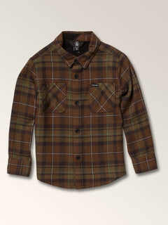 Little Boys Lumberg Long Sleeve Flannel In Vineyard Green, Front View