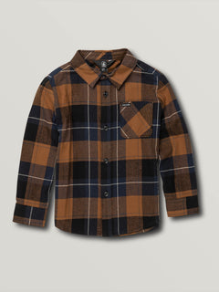 Little Boys Caden Plaid Long Sleeve - Bison (Y0541906_BSN) [F]