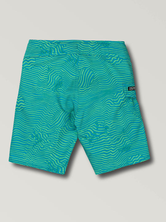 Little Boys Magnetic Stone Boardshorts In Aqua, Back View