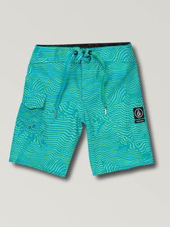 Little Boys Magnetic Stone Boardshorts In Aqua, Front View