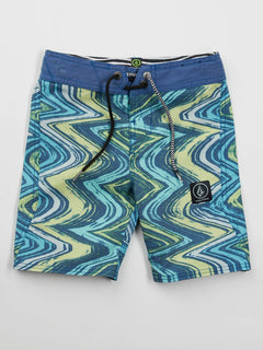 Little Boys Lo Fi Boardshorts In Camper Blue, Front View