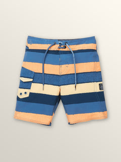 Little Boys Magnetic Liney Mod Boardshorts In Sunburst, Front View
