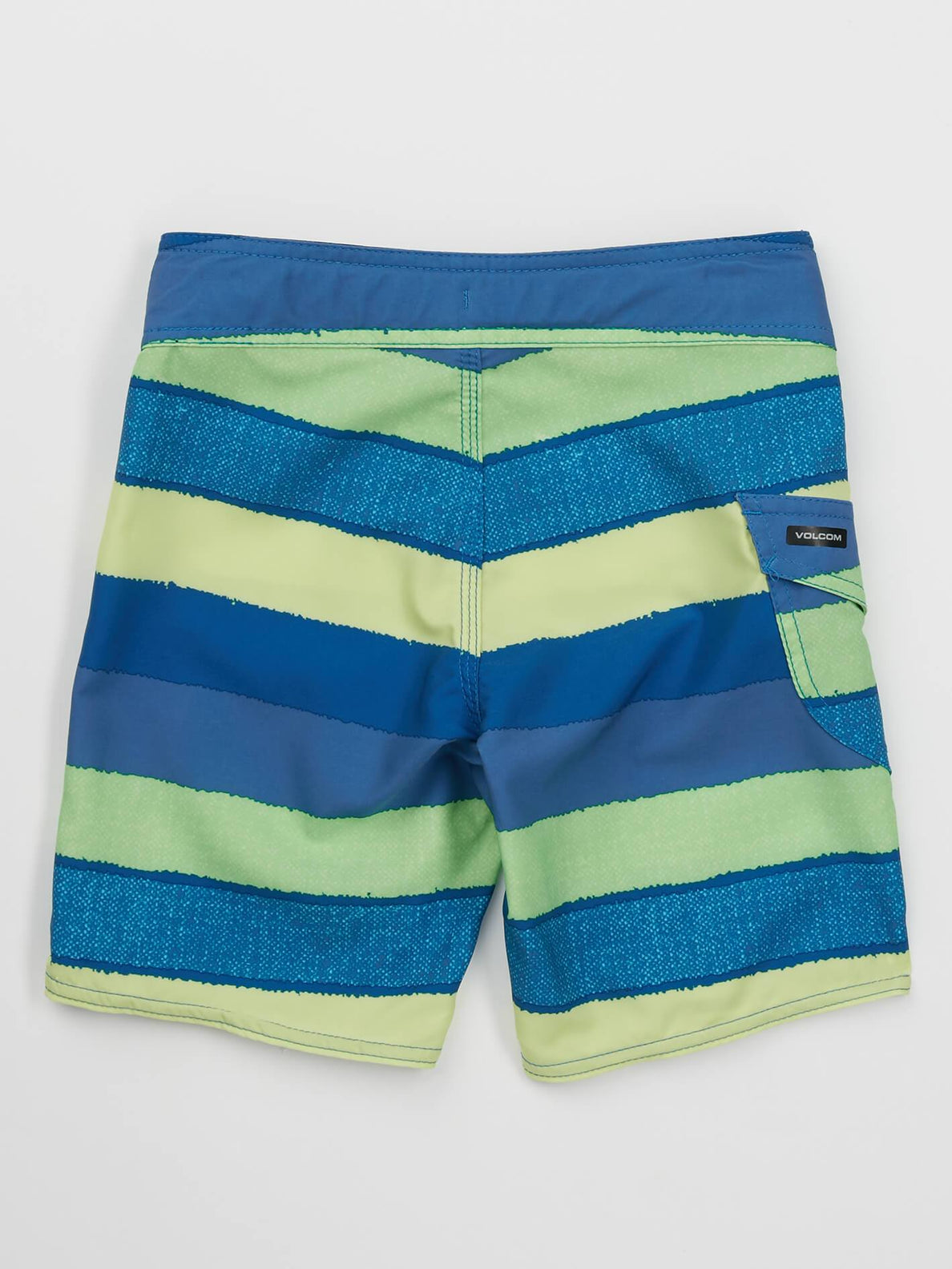 Little Boys Magnetic Liney Mod Boardshorts In Shadow Lime, Back View