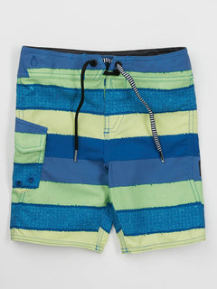 Little Boys Magnetic Liney Mod Boardshorts In Shadow Lime, Front View