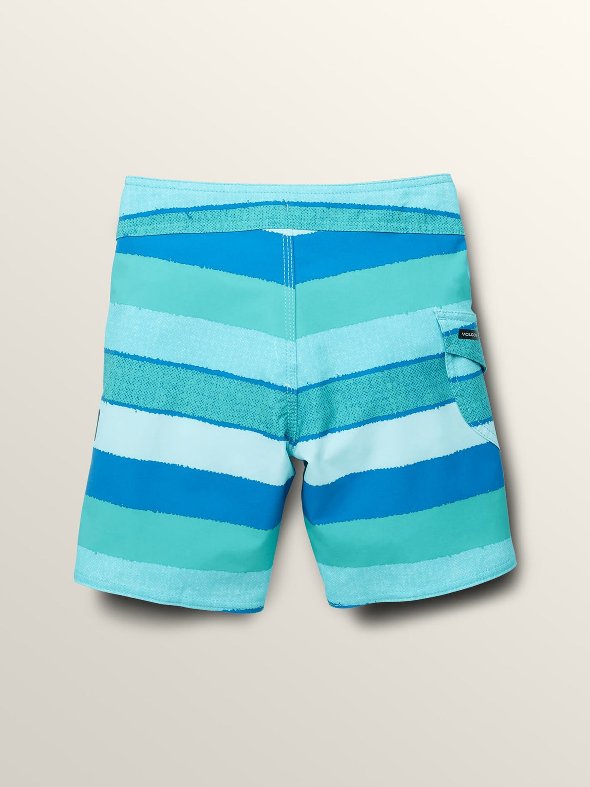 Little Boys Magnetic Liney Mod Boardshorts In Turquoise, Back View