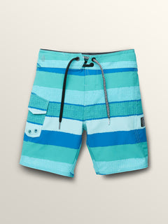 Little Boys Magnetic Liney Mod Boardshorts In Turquoise, Front View