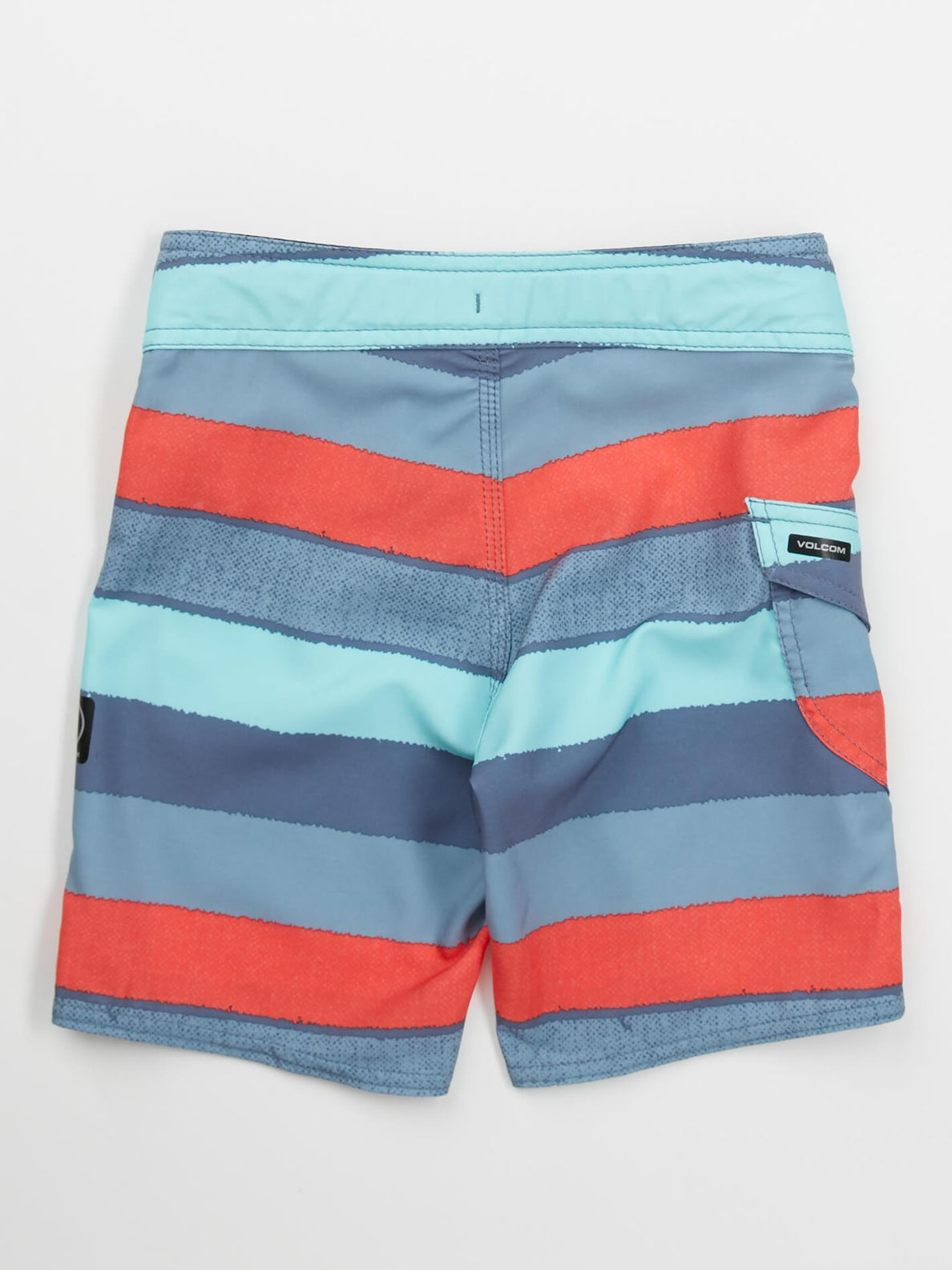 Little Boys Magnetic Liney Mod Boardshorts In Wrecked Indigo, Back View