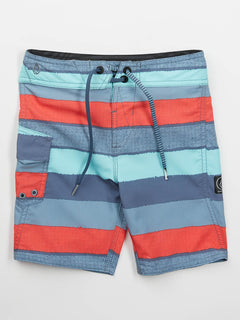 Little Boys Magnetic Liney Mod Boardshorts In Wrecked Indigo, Front View