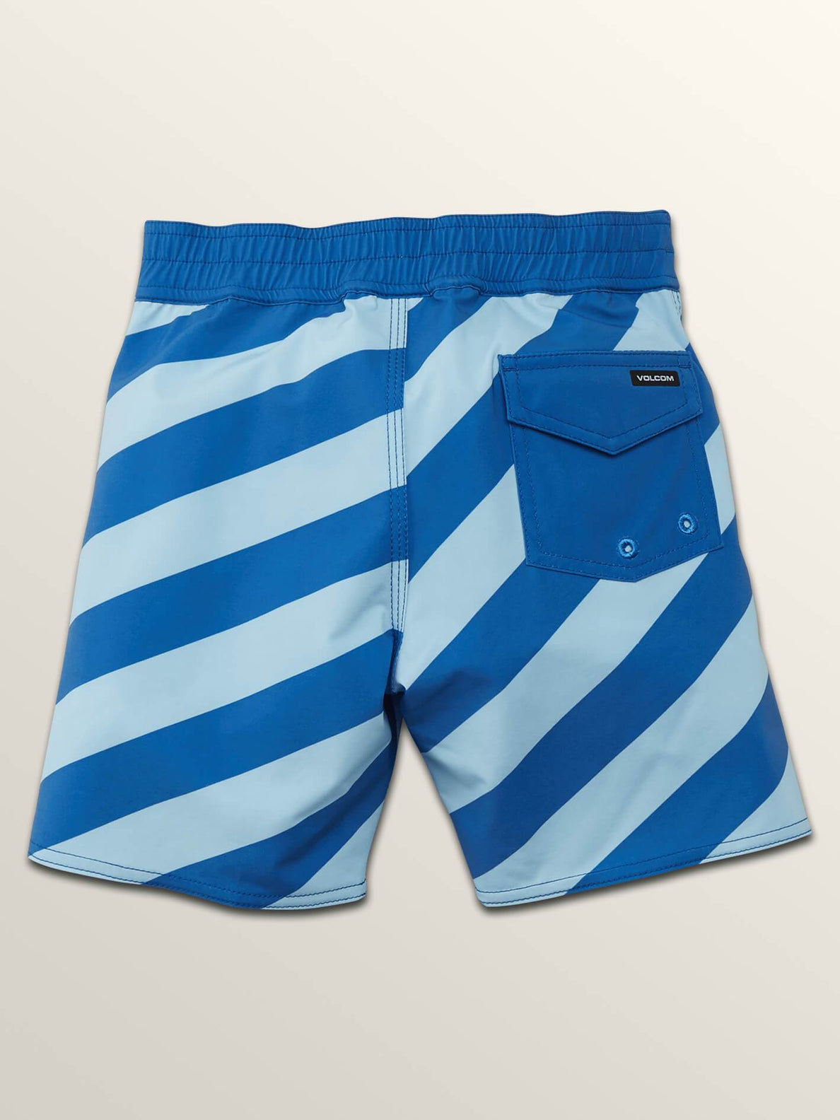 Little Boys Stripey Elastic Boardshorts In Arctic Blue, Back View