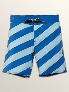 Little Boys Stripey Elastic Boardshorts In Arctic Blue, Front View