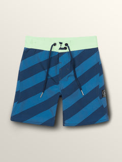 Little Boys Stripey Elastic Boardshorts In Indigo, Front View