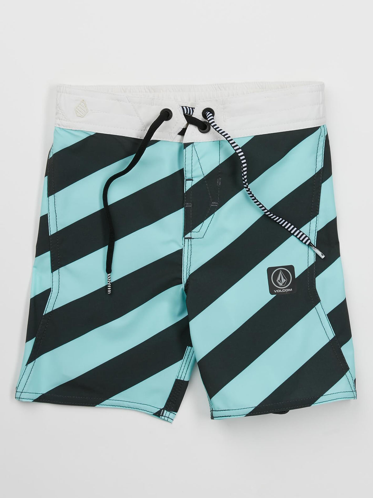 Little Boys Stripey Elastic Boardshorts In Pale Aqua, Front View