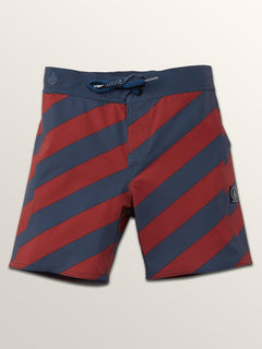 Little Boys Stripey Elastic Boardshorts In Rust, Front View