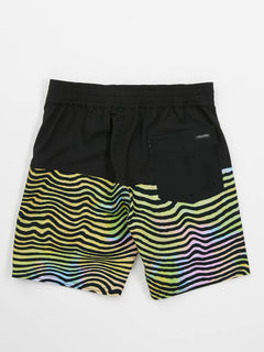 Little Boys Vibes Elastic Boardshorts In Multi, Back View