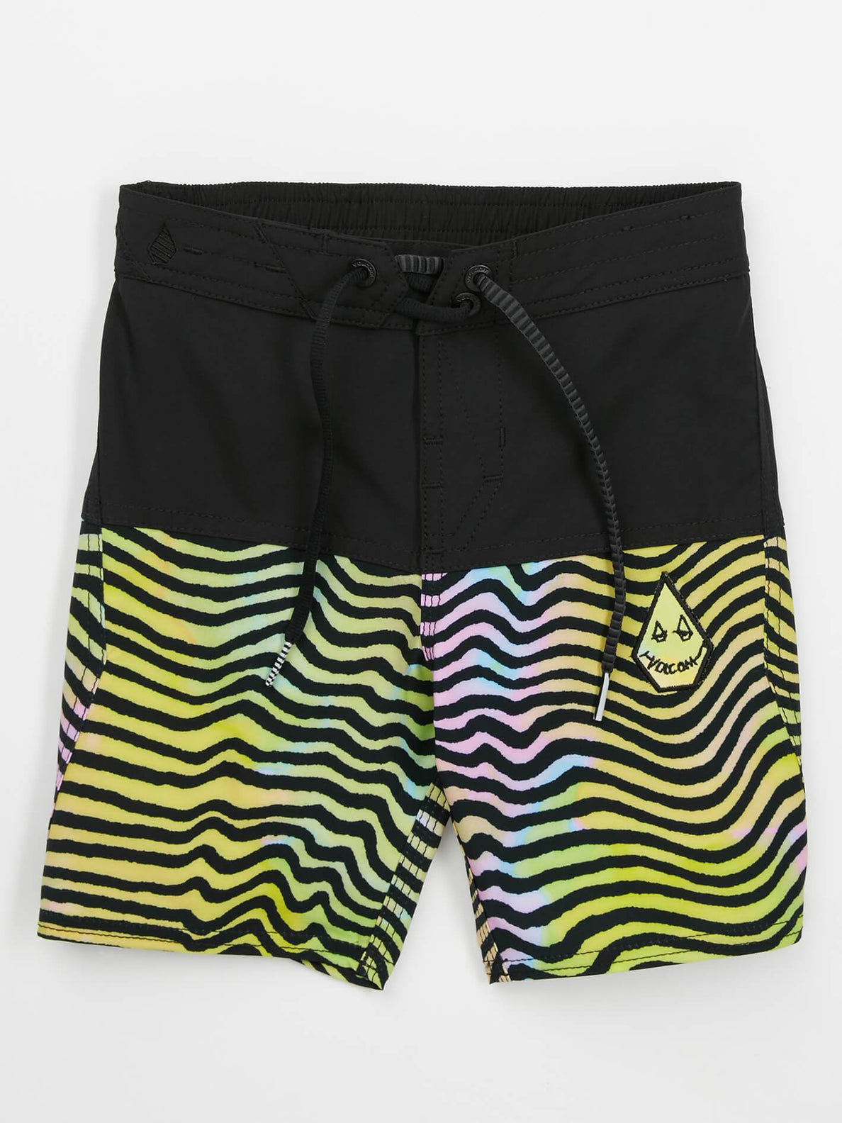 Little Boys Vibes Elastic Boardshorts In Multi, Front View