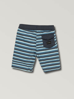 Little Boys Aura Boardshorts In Vintage Blue, Back View