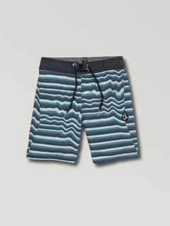 Little Boys Aura Boardshorts In Vintage Blue, Front View