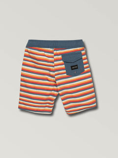 Little Boys Aura Boardshorts In Yellow Orange, Back View