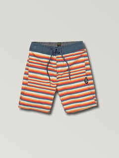 Little Boys Aura Boardshorts In Yellow Orange, Front View