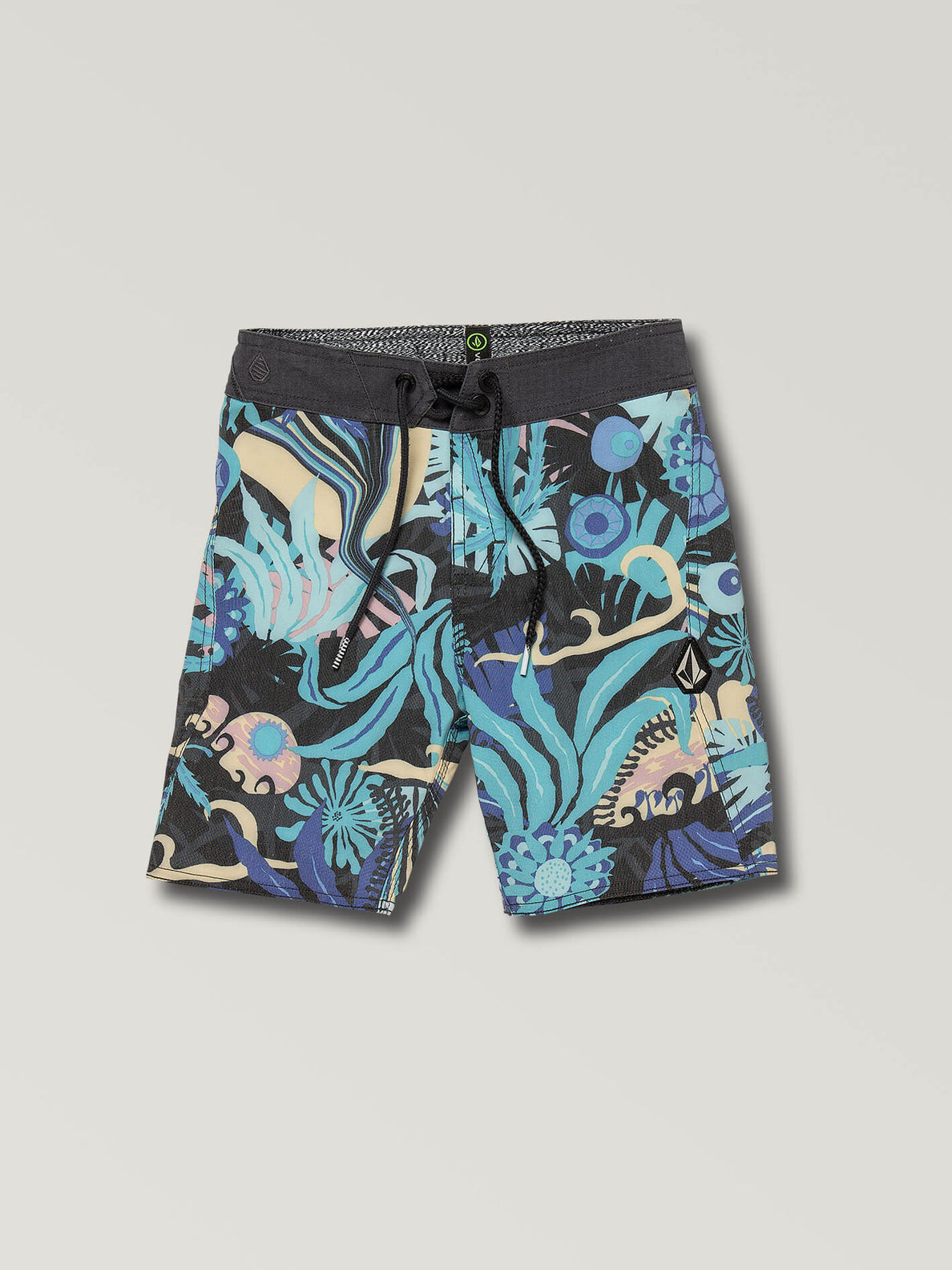 Little Boys Tripped Boardshorts In Black, Front View